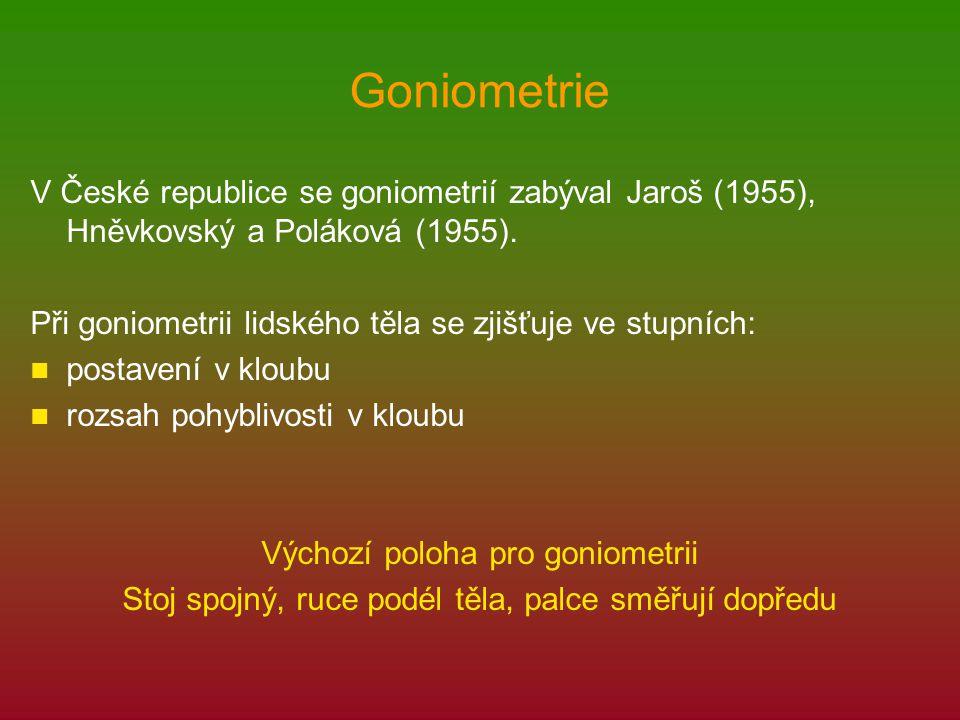 Goniometrie V České republice se goniometrií zabýval Jaroš (1955), Hněvkovský a Poláková (1955). Při goniometrii lidského těla se zjišťuje ve stupních