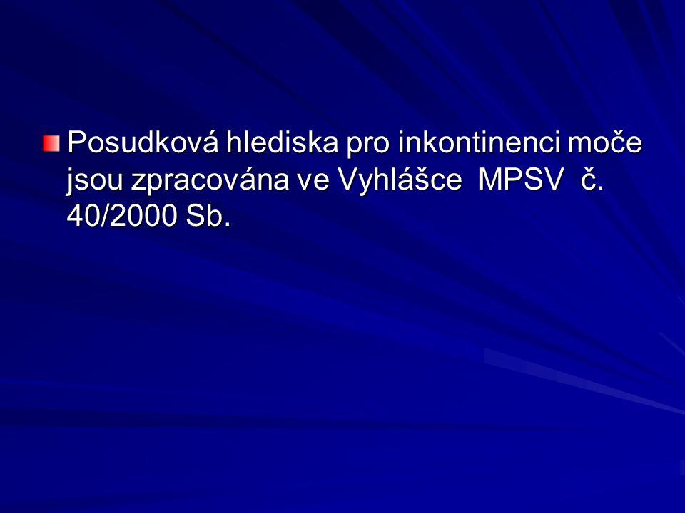 Posudková hlediska pro inkontinenci moče jsou zpracována ve Vyhlášce MPSV č. 40/2000 Sb.