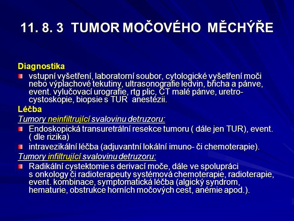11. 8. 3 TUMOR MOČOVÉHO MĚCHÝŘE Diagnostika vstupní vyšetření, laboratorní soubor, cytologické vyšetření moči nebo výplachové tekutiny, ultrasonografi