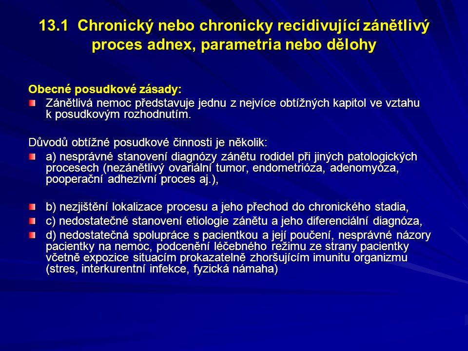 13.1 Chronický nebo chronicky recidivující zánětlivý proces adnex, parametria nebo dělohy Obecné posudkové zásady: Zánětlivá nemoc představuje jednu z