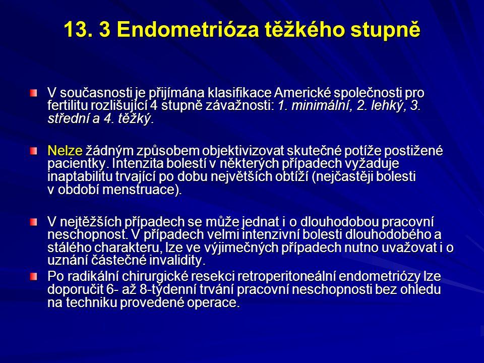 13. 3 Endometrióza těžkého stupně V současnosti je přijímána klasifikace Americké společnosti pro fertilitu rozlišující 4 stupně závažnosti: 1. minimá