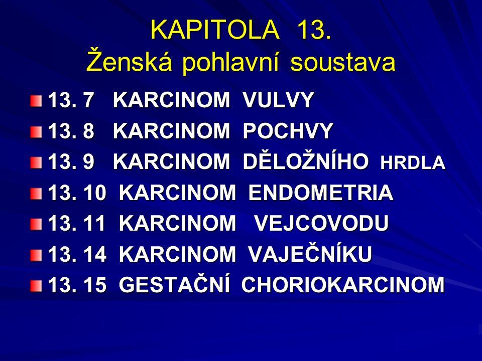 KAPITOLA 13. Ženská pohlavní soustava 13. 7 KARCINOM VULVY 13. 8 KARCINOM POCHVY 13. 9 KARCINOM DĚLOŽNÍHO HRDLA 13. 10 KARCINOM ENDOMETRIA 13. 11 KARC