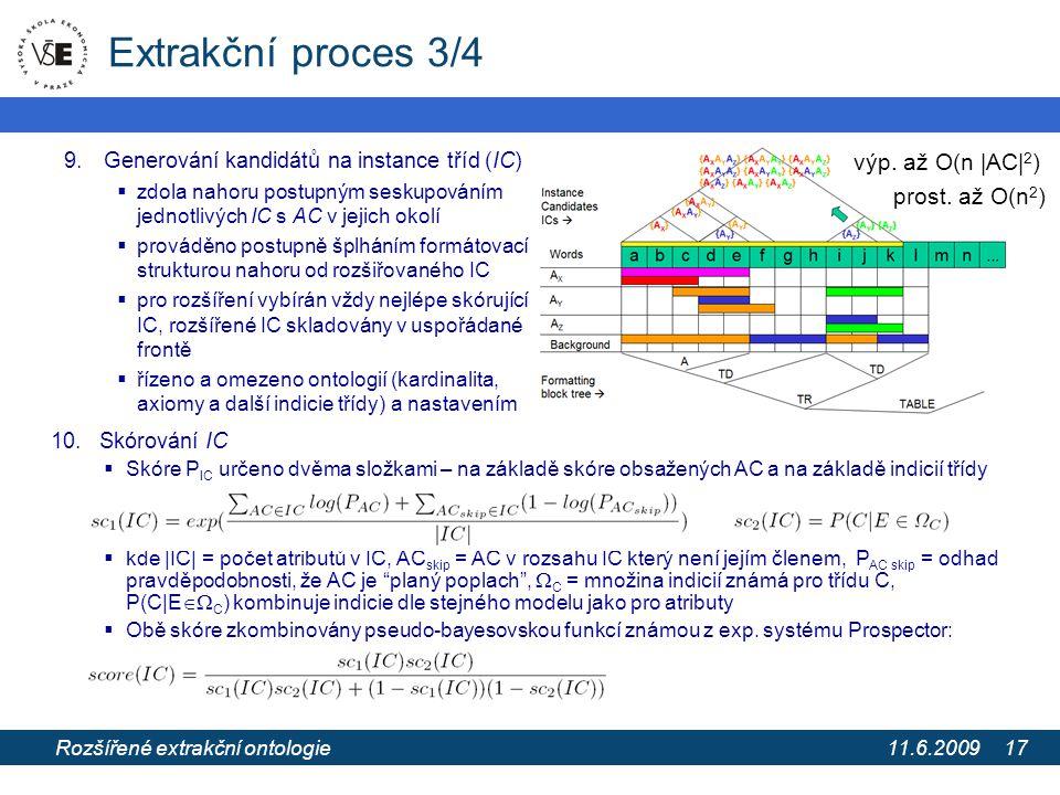 11.6.2009 Extrakce informací z webových stránek pomocí extrakčních ontologií 17 Extrakční proces 3/4 9.Generování kandidátů na instance tříd (IC)  zd