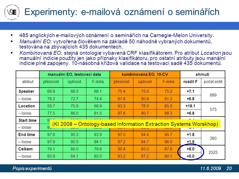 11.6.2009 Extrakce informací z webových stránek pomocí extrakčních ontologií 20 Experimenty: e-mailová oznámení o seminářích  485 anglických e-mailových oznámení o seminářích na Carnegie-Melon University.