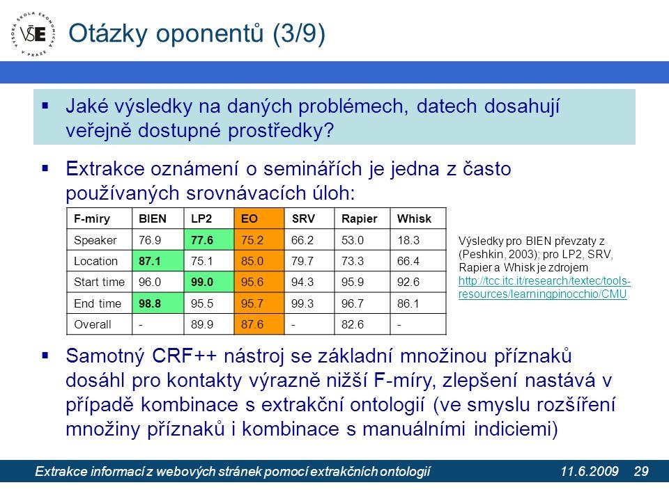 11.6.2009 Extrakce informací z webových stránek pomocí extrakčních ontologií 29 Otázky oponentů (3/9)  Jaké výsledky na daných problémech, datech dos
