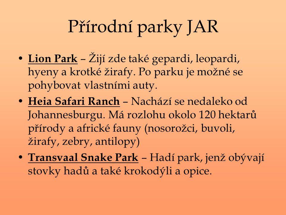 Přírodní parky JAR Lion Park – Žijí zde také gepardi, leopardi, hyeny a krotké žirafy. Po parku je možné se pohybovat vlastními auty. Heia Safari Ranc