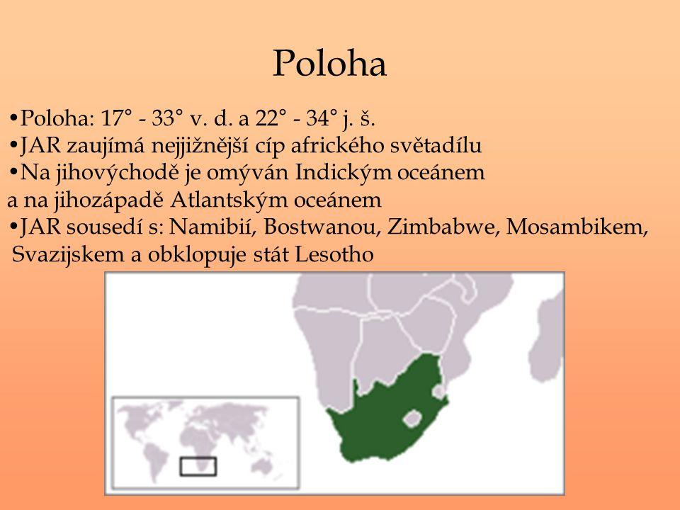 Poloha Poloha: 17° - 33° v. d. a 22° - 34° j. š. JAR zaujímá nejjižnější cíp afrického světadílu Na jihovýchodě je omýván Indickým oceánem a na jihozá