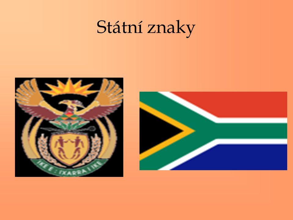 """Základní údaje Rozloha: 1 225 815 km2 Počet obyvatel: 44 186 637 Hustota zalidnění: 35 obyv./km2 Hlavní město: Pretoria 526 000 obyv.(sídlo vlády), Bloemfortein (nejvyšší soud), Cape Town 855 000 obyv.(sídlo parlamentu), Státní zřízení: pluralitní federativní republika s vládou """"národní jednoty a s dvoukomorovým parlamentem Prezident: Thabo Mbeki Úřední jazyk: angličtina,afrikaans, zulu, khosa, tswana,severní a jižní sotho, venda, ndebele Měna: 1 rand (ZAR) = 100 centů Hrubý domácí produkt: 12 000 USD Členství: OSN, SADC, Commonwealth Gramotnost: 86,4%"""