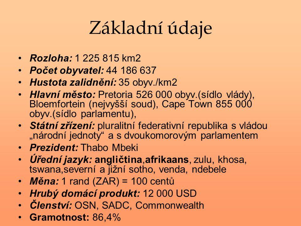 Základní údaje Rozloha: 1 225 815 km2 Počet obyvatel: 44 186 637 Hustota zalidnění: 35 obyv./km2 Hlavní město: Pretoria 526 000 obyv.(sídlo vlády), Bl