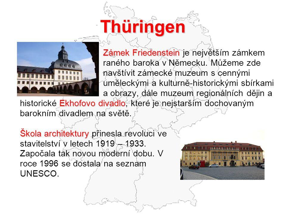 Thüringen Zámek Friedenstein Zámek Friedenstein je největším zámkem raného baroka v Německu. Můžeme zde navštívit zámecké muzeum s cennými uměleckými