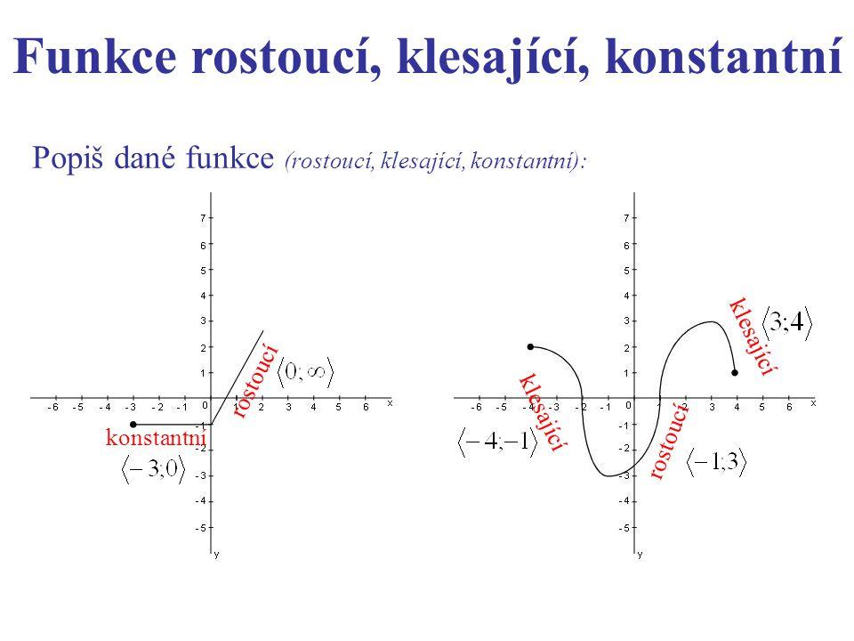 Popiš dané funkce (rostoucí, klesající, konstantní): konstantní rostoucí klesající rostoucí klesající Funkce rostoucí, klesající, konstantní