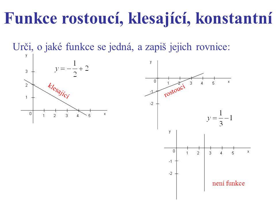 Urči, o jaké funkce se jedná, a zapiš jejich rovnice: Funkce rostoucí, klesající, konstantní klesající rostoucí není funkce