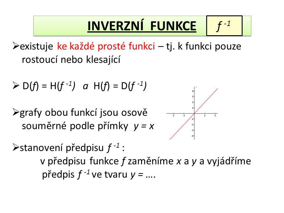 f -1  existuje ke každé prosté funkci – tj. k funkci pouze rostoucí nebo klesající  D(f) = H(f -1 ) a H(f) = D(f -1 )  grafy obou funkcí jsou osově