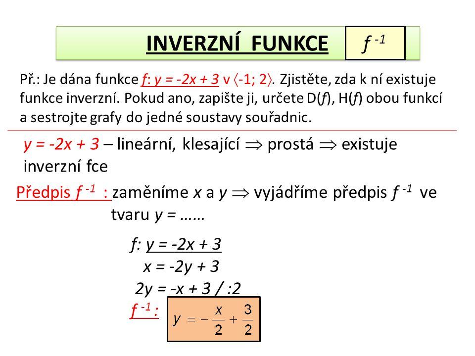 INVERZNÍ FUNKCE f -1 Př.: Je dána funkce f: y = -2x + 3 v  -1; 2 . Zjistěte, zda k ní existuje funkce inverzní. Pokud ano, zapište ji, určete D(f),