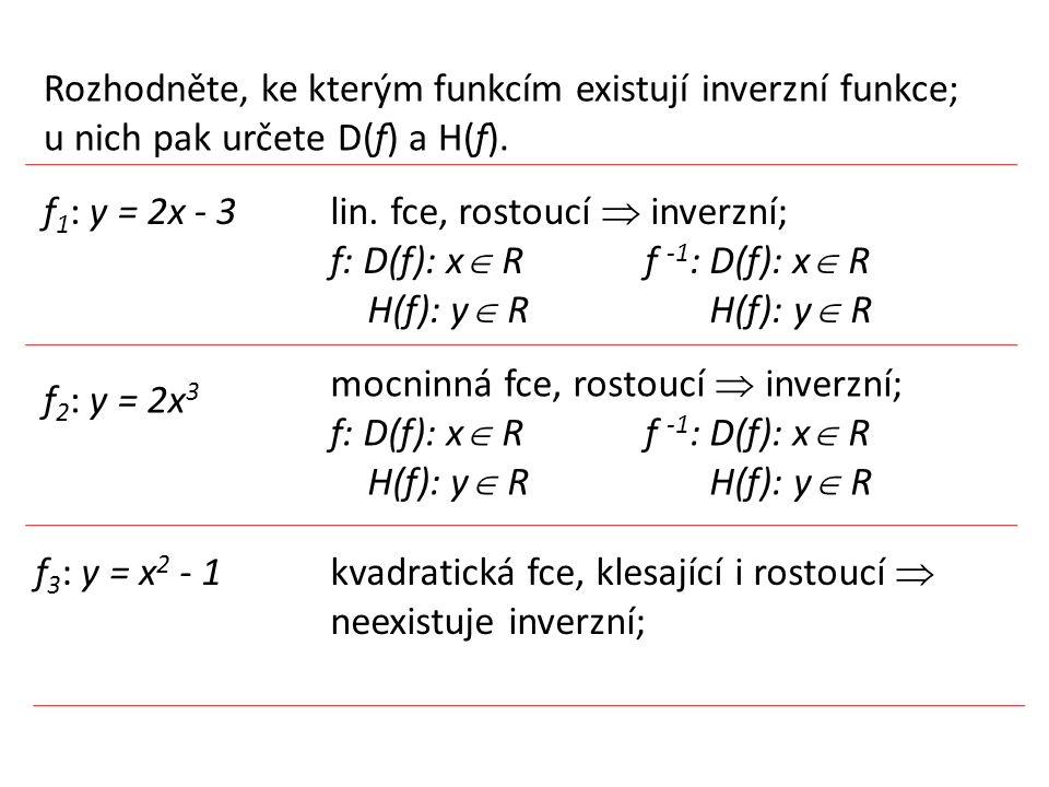 Rozhodněte, ke kterým funkcím existují inverzní funkce; u nich pak určete D(f) a H(f). f 1 : y = 2x - 3 f 2 : y = 2x 3 f 3 : y = x 2 - 1 lin. fce, ros