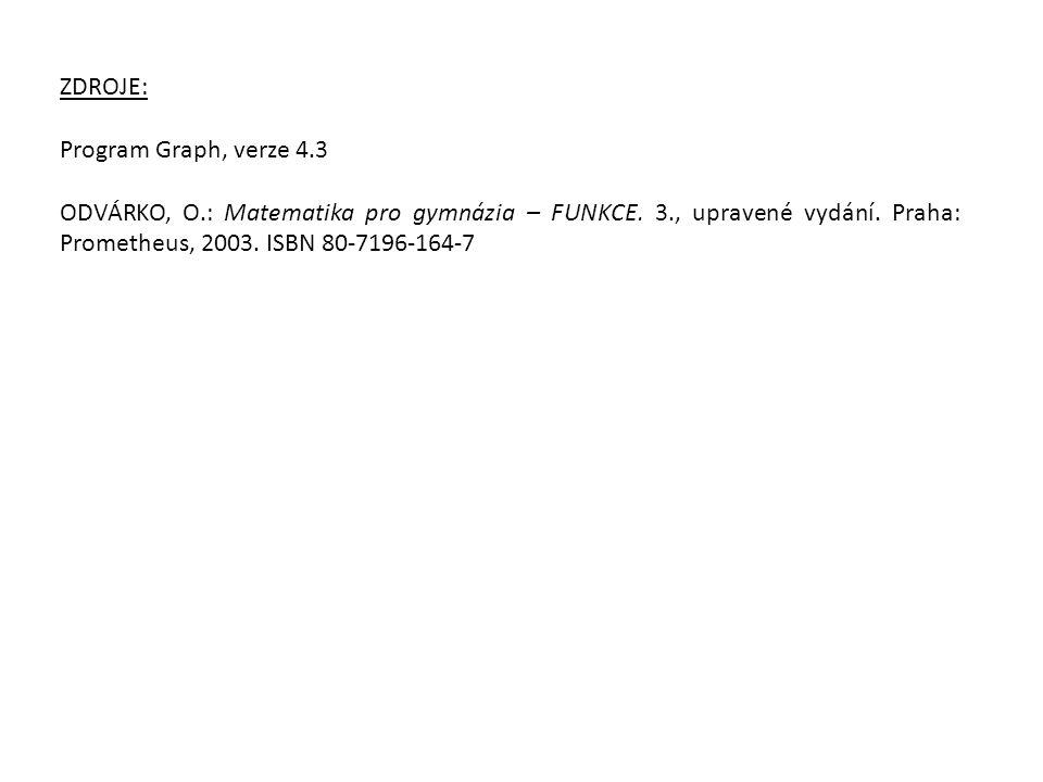 ZDROJE: Program Graph, verze 4.3 ODVÁRKO, O.: Matematika pro gymnázia – FUNKCE. 3., upravené vydání. Praha: Prometheus, 2003. ISBN 80-7196-164-7