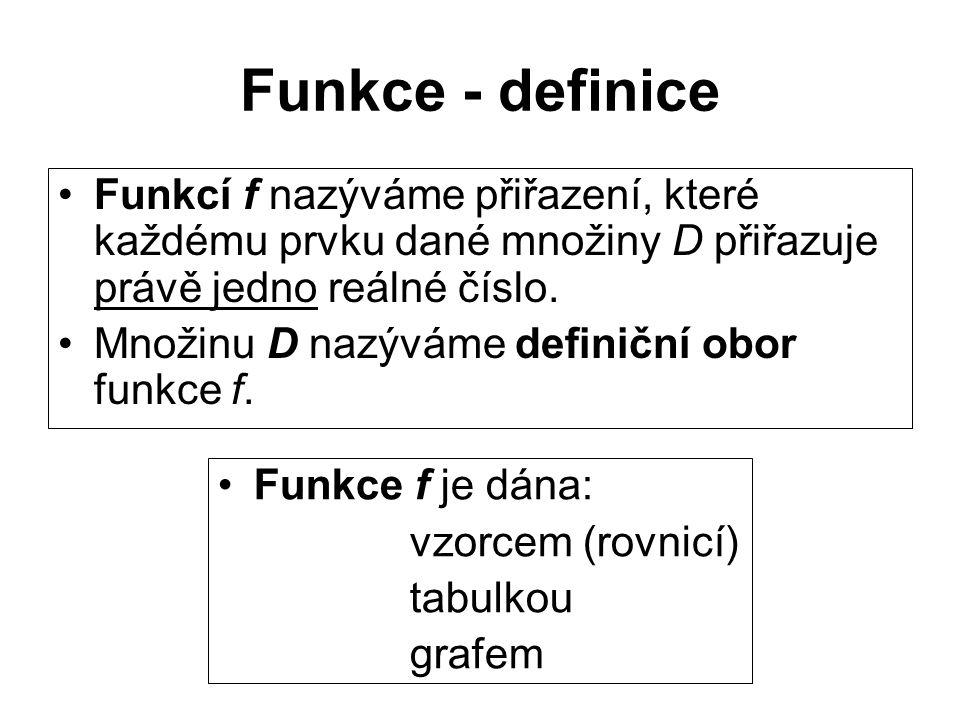 Funkce - zápis Funkci zapisujeme: f: x y, x  D (čteme: prvku x množiny D je přiřazeno funkcí f reálné číslo y) nebo:y = f(x), x  D (čteme: prvku x množiny D je přiřazeno funkcí f reálné číslo y)