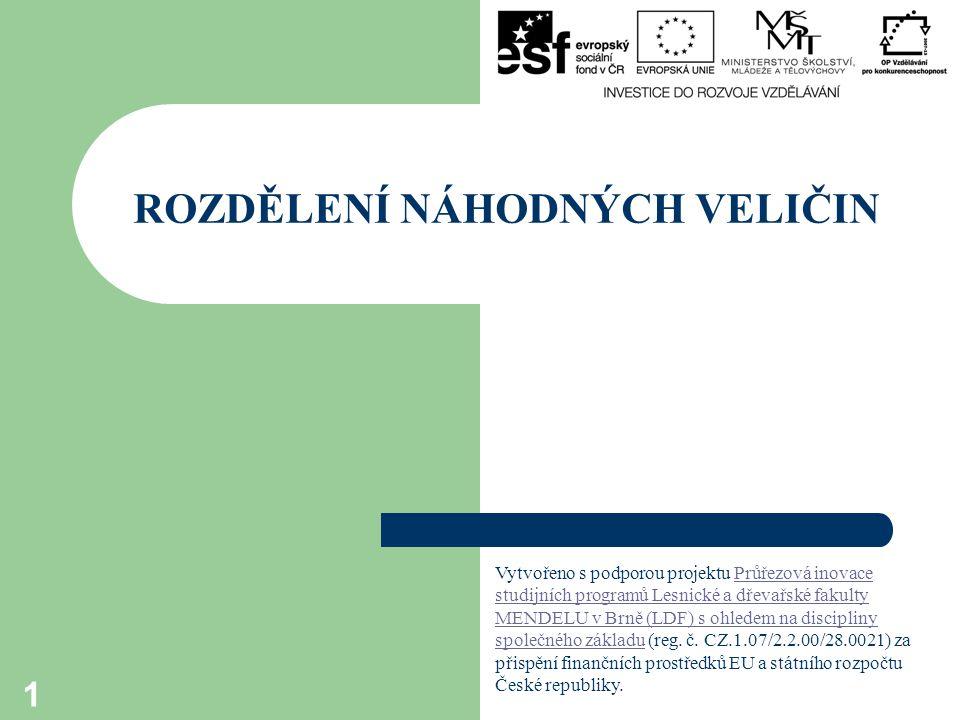 ROZDĚLENÍ NÁHODNÝCH VELIČIN 1 Vytvořeno s podporou projektu Průřezová inovace studijních programů Lesnické a dřevařské fakulty MENDELU v Brně (LDF) s