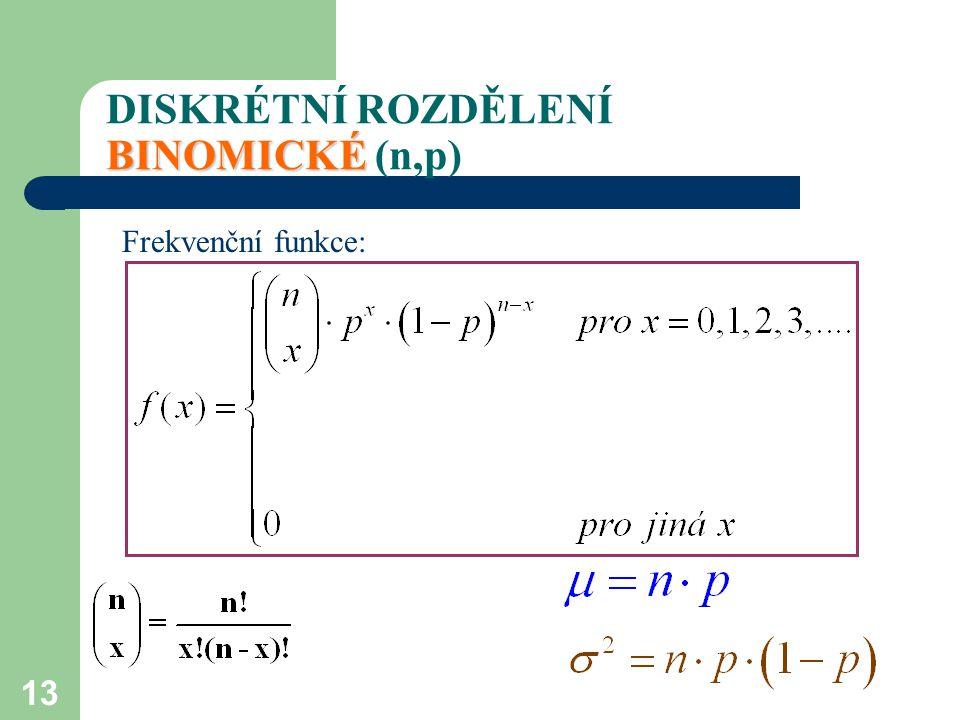 13 BINOMICKÉ DISKRÉTNÍ ROZDĚLENÍ BINOMICKÉ (n,p) Frekvenční funkce: