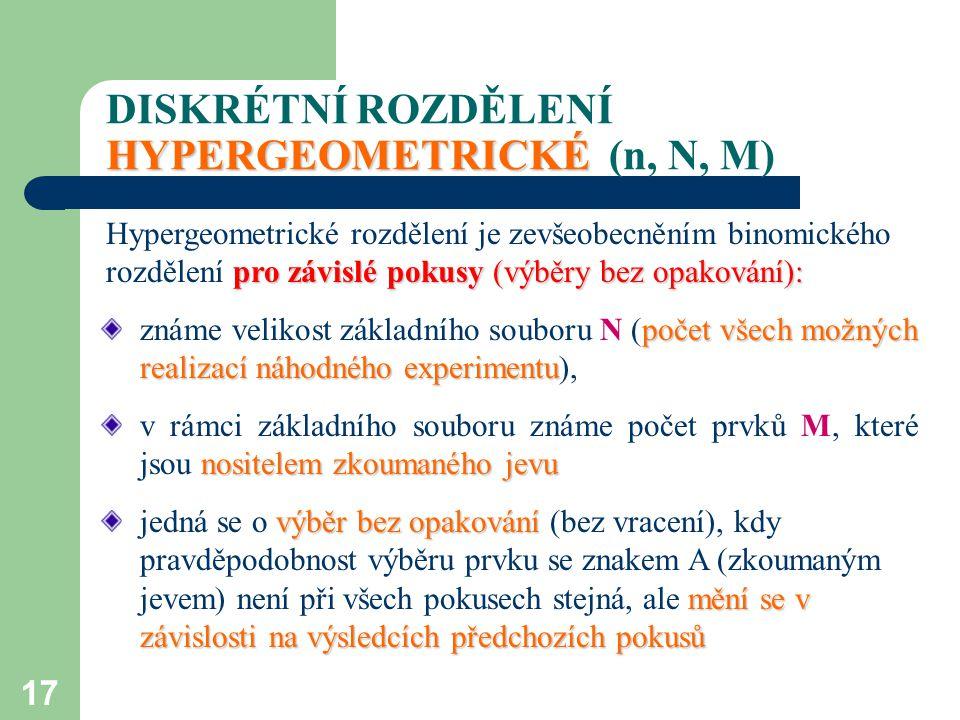 17 HYPERGEOMETRICKÉ DISKRÉTNÍ ROZDĚLENÍ HYPERGEOMETRICKÉ (n, N, M) pro závislé pokusy (výběry bez opakování): Hypergeometrické rozdělení je zevšeobecn