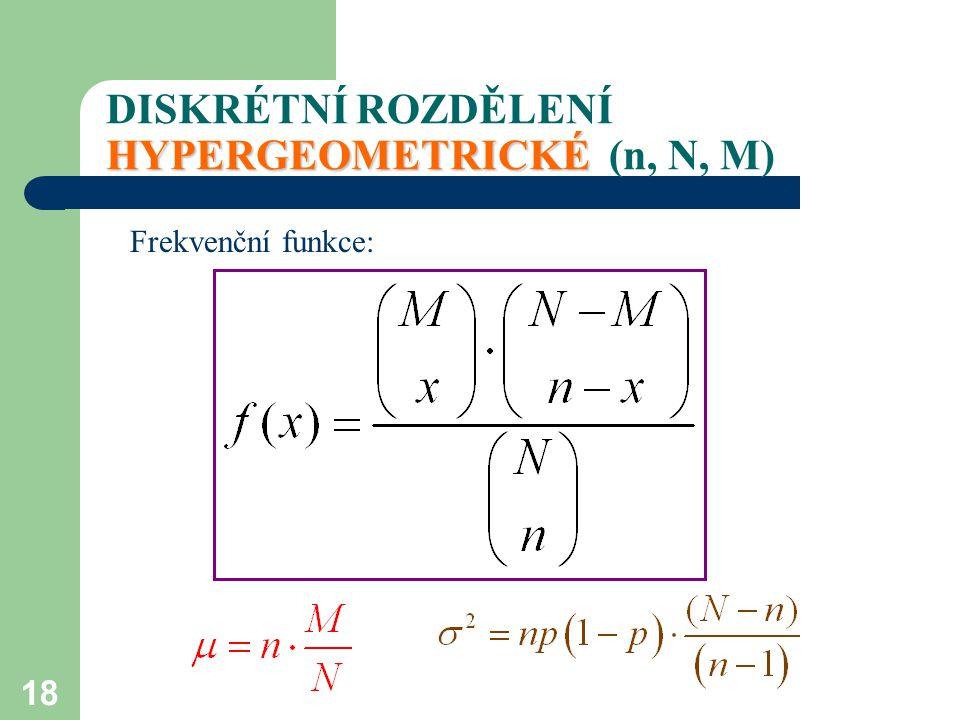 18 HYPERGEOMETRICKÉ DISKRÉTNÍ ROZDĚLENÍ HYPERGEOMETRICKÉ (n, N, M) Frekvenční funkce: