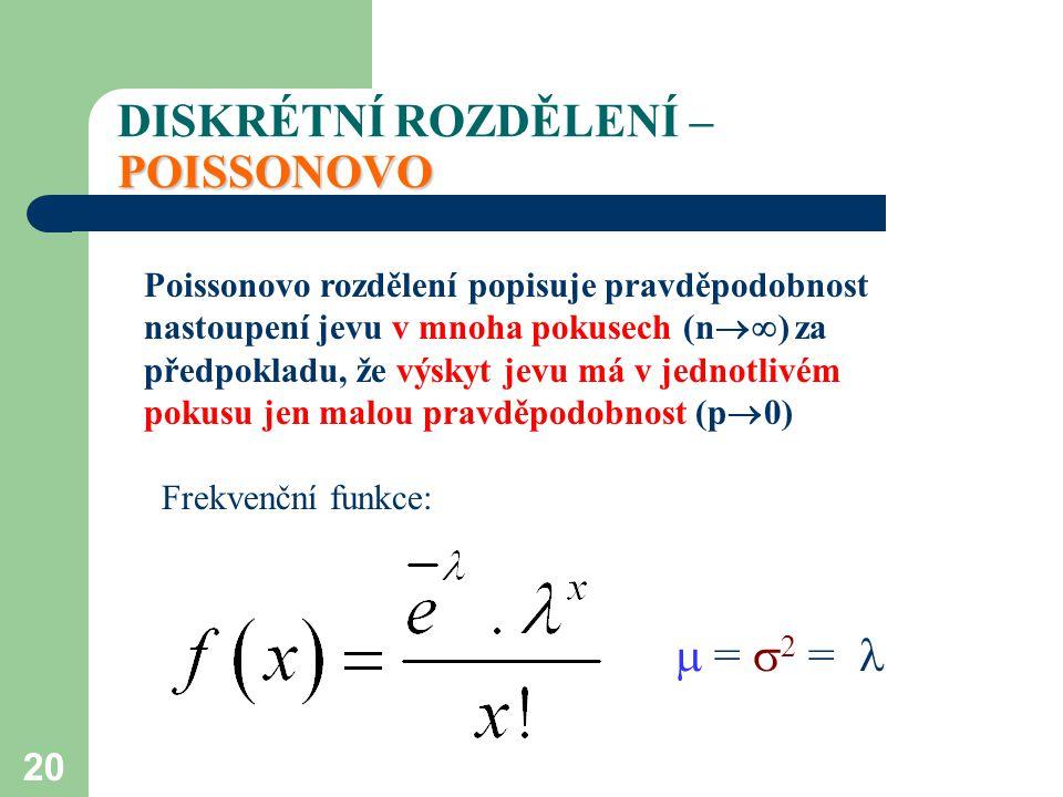 20 POISSONOVO DISKRÉTNÍ ROZDĚLENÍ – POISSONOVO Poissonovo rozdělení popisuje pravděpodobnost nastoupení jevu v mnoha pokusech (n  ) za předpokladu,