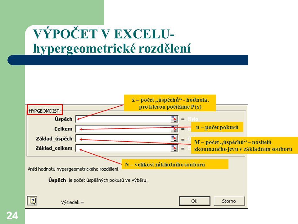 """24 VÝPOČET V EXCELU- hypergeometrické rozdělení x – počet """"úspěchů"""" - hodnota, pro kterou počítáme P(x) n – počet pokusů M – počet """"úspěchů"""" – nositel"""
