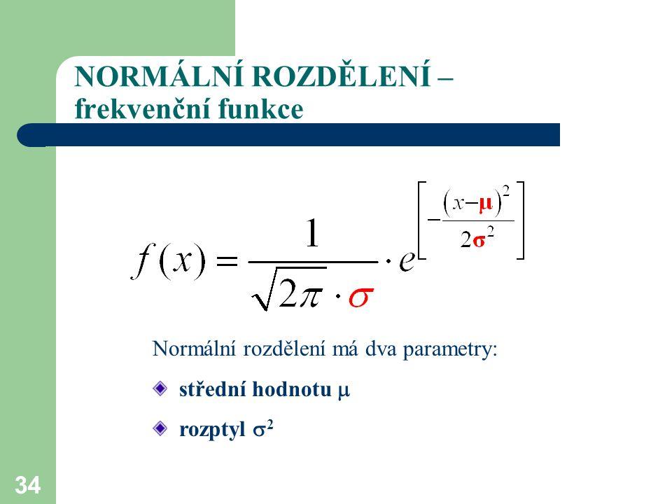34 NORMÁLNÍ ROZDĚLENÍ – frekvenční funkce Normální rozdělení má dva parametry: střední hodnotu  rozptyl  2