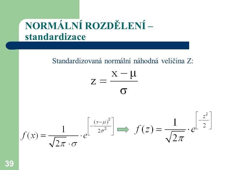 39 NORMÁLNÍ ROZDĚLENÍ – standardizace Standardizovaná normální náhodná veličina Z: