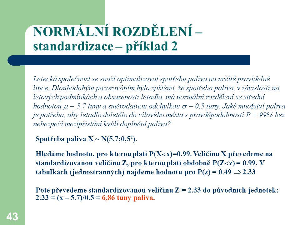 43 NORMÁLNÍ ROZDĚLENÍ – standardizace – příklad 2 Letecká společnost se snaží optimalizovat spotřebu paliva na určité pravidelné lince. Dlouhodobým po