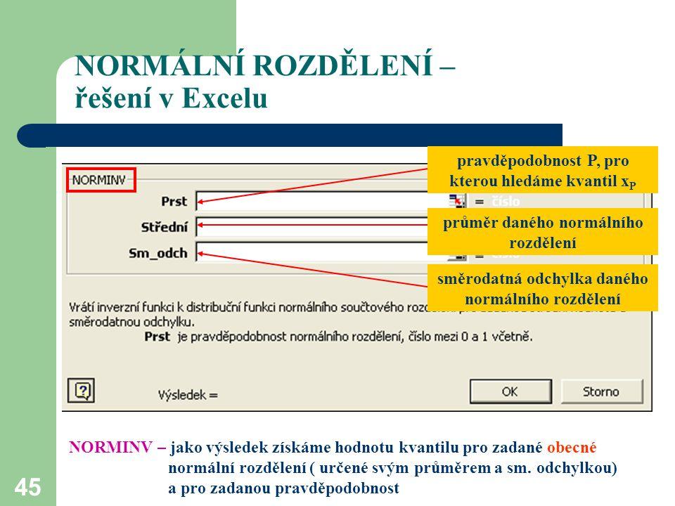 45 NORMÁLNÍ ROZDĚLENÍ – řešení v Excelu pravděpodobnost P, pro kterou hledáme kvantil x P průměr daného normálního rozdělení směrodatná odchylka danéh