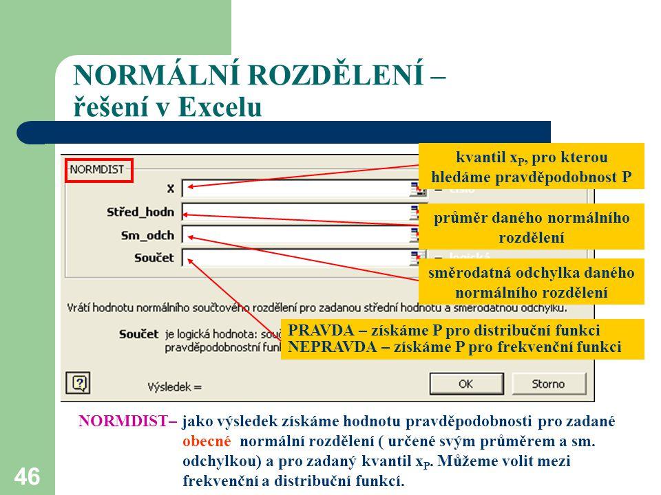 46 NORMÁLNÍ ROZDĚLENÍ – řešení v Excelu průměr daného normálního rozdělení směrodatná odchylka daného normálního rozdělení kvantil x P, pro kterou hle