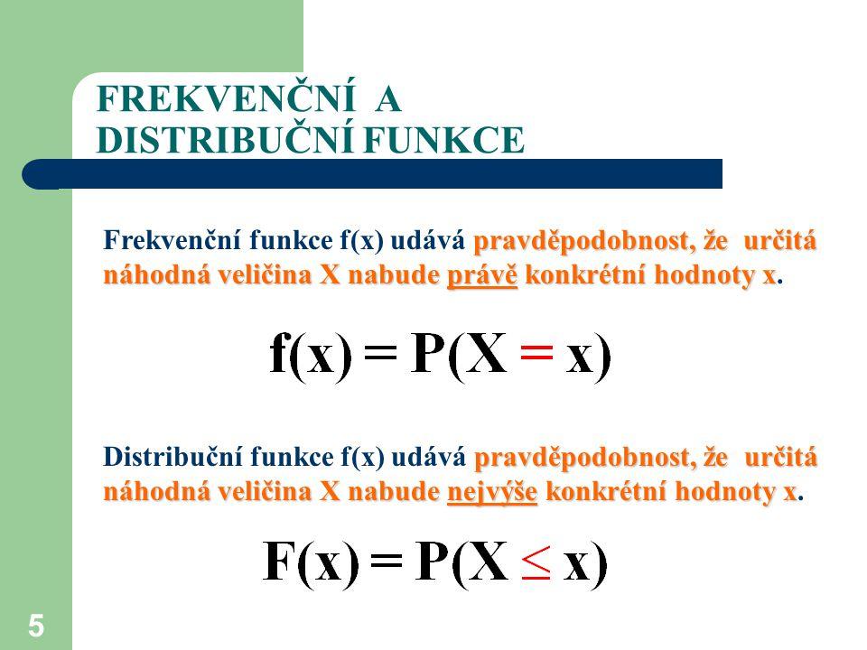 5 FREKVENČNÍ A DISTRIBUČNÍ FUNKCE pravděpodobnost, že určitá náhodná veličina X nabude právě konkrétní hodnoty x Frekvenční funkce f(x) udává pravděpo