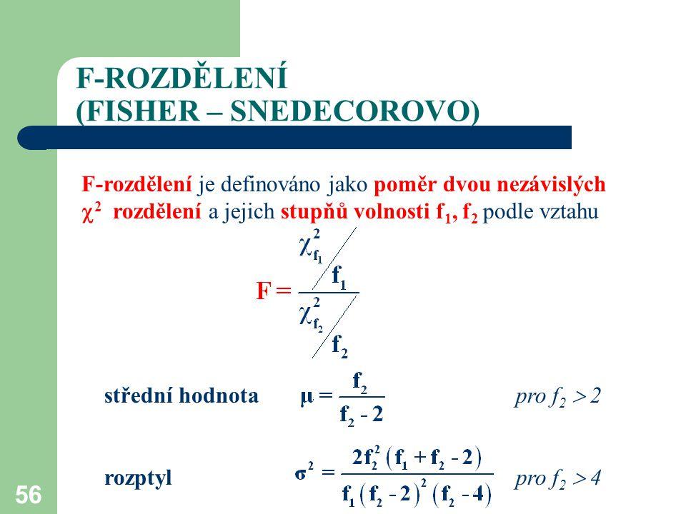 56 F-ROZDĚLENÍ (FISHER – SNEDECOROVO) F-rozdělení je definováno jako poměr dvou nezávislých  2 rozdělení a jejich stupňů volnosti f 1, f 2 podle vzta