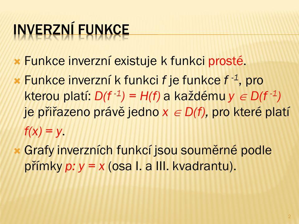  Funkce inverzní existuje k funkci prosté.