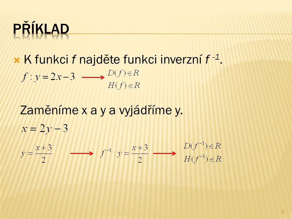  K funkci f najděte funkci inverzní f -1. Zaměníme x a y a vyjádříme y. 4