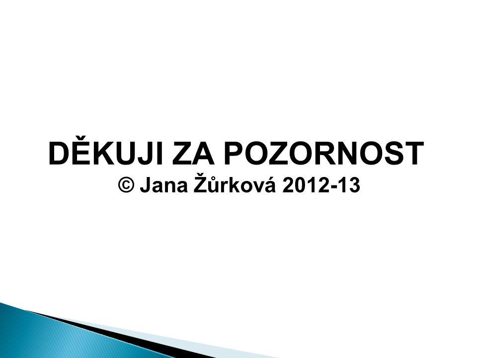 DĚKUJI ZA POZORNOST © Jana Žůrková 2012-13