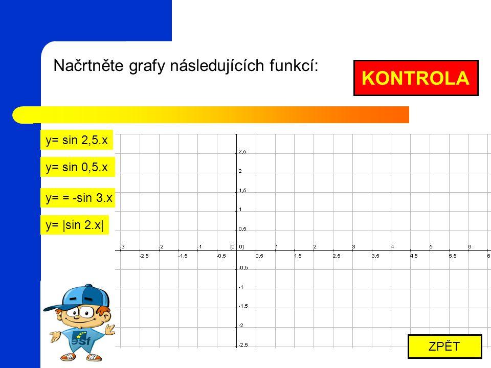 Načrtněte grafy následujících funkcí: y= sin 2,5.x y= sin 0,5.x y= = -sin 3.x y= |sin 2.x| KONTROLA ZPĚT