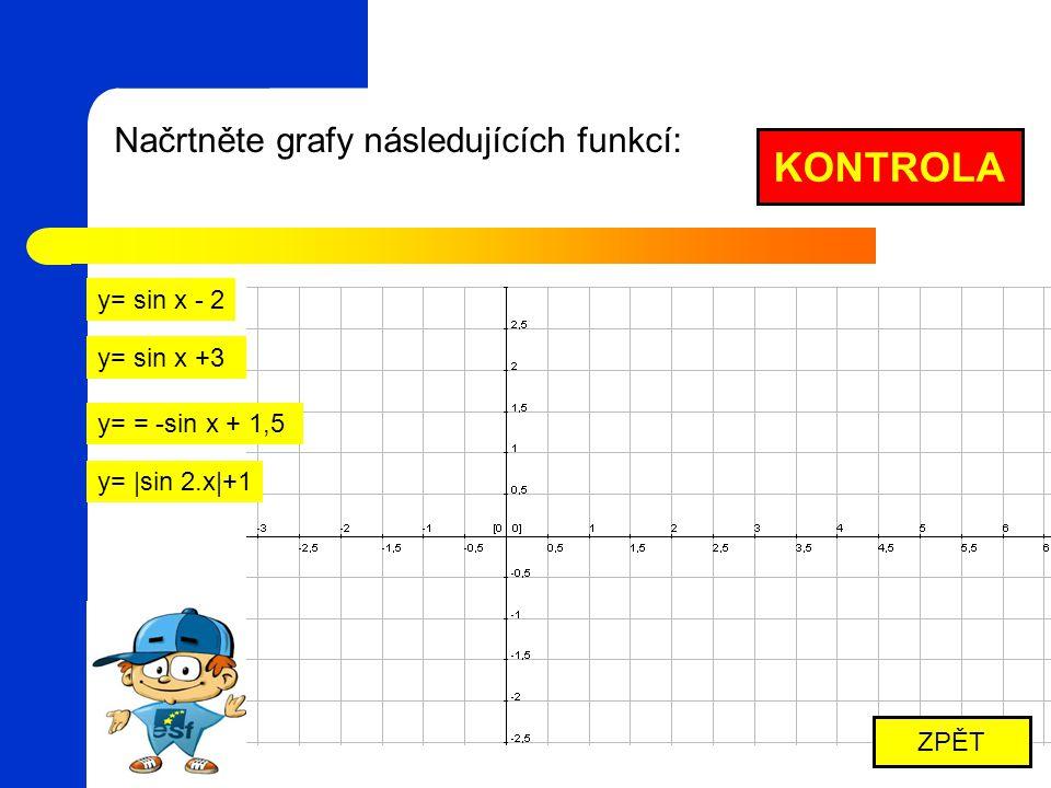 Načrtněte grafy následujících funkcí: y= sin x - 2 y= sin x +3 KONTROLA ZPĚT y= = -sin x + 1,5 y= |sin 2.x|+1