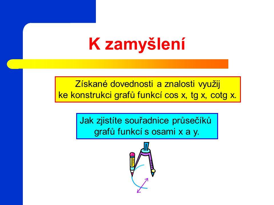 K zamyšlení Jak zjistíte souřadnice průsečíků grafů funkcí s osami x a y. Získané dovednosti a znalosti využij ke konstrukci grafů funkcí cos x, tg x,