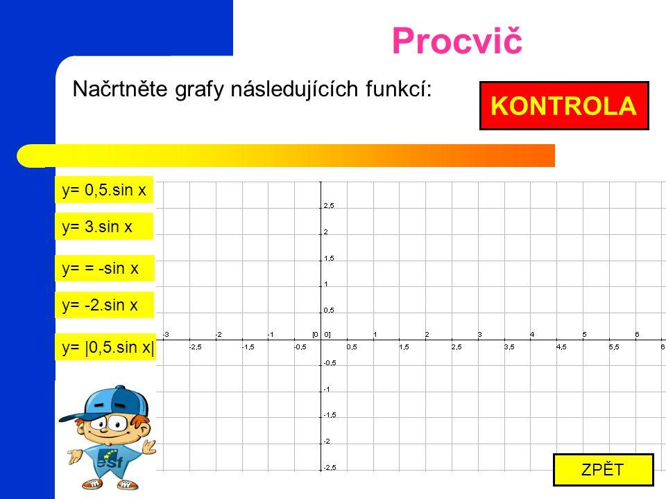 Načrtněte grafy následujících funkcí: y= sin 2,5.x y= sin 0,5.x y= = -sin 3.x y=  sin 2.x  KONTROLA ZPĚT