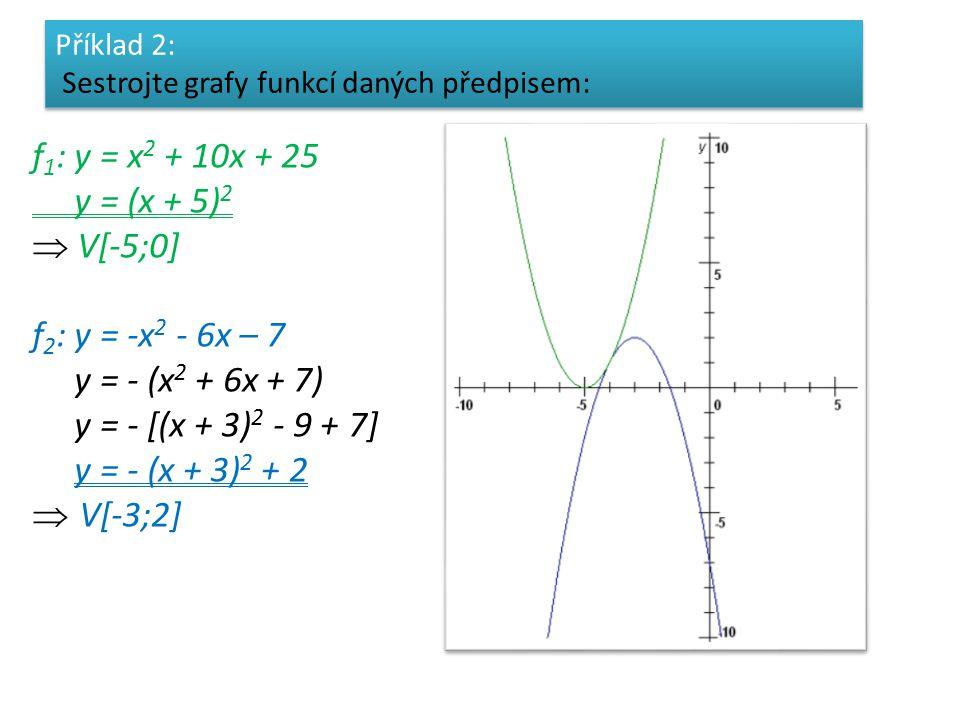 f 1 : y = x 2 + 10x + 25 y = (x + 5) 2  V[-5;0] f 2 : y = -x 2 - 6x – 7 y = - (x 2 + 6x + 7) y = - [(x + 3) 2 - 9 + 7] y = - (x + 3) 2 + 2  V[-3;2] Příklad 2: Sestrojte grafy funkcí daných předpisem: Příklad 2: Sestrojte grafy funkcí daných předpisem: