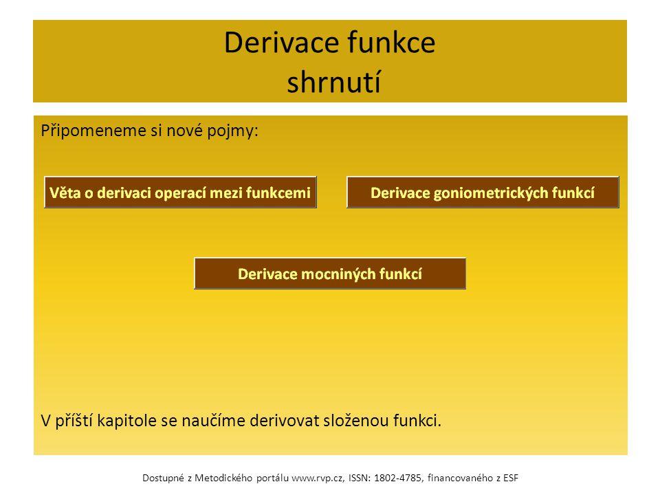 Derivace funkce shrnutí Připomeneme si nové pojmy: V příští kapitole se naučíme derivovat složenou funkci. Dostupné z Metodického portálu www.rvp.cz,