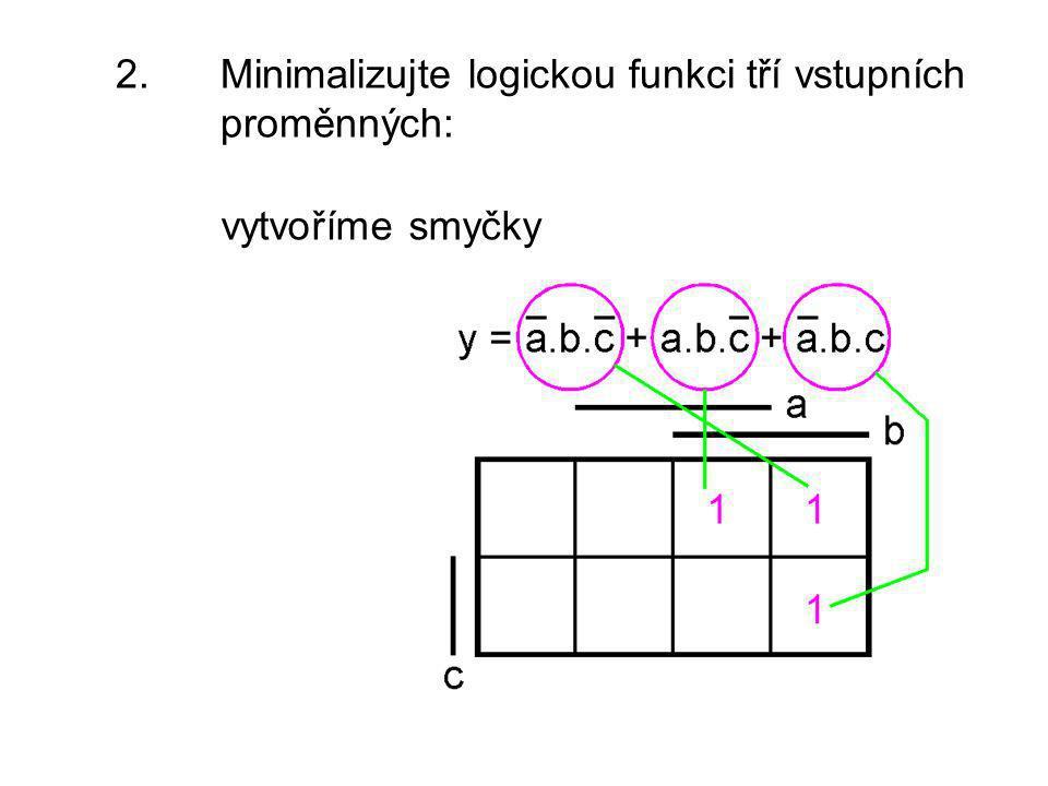 2. Minimalizujte logickou funkci tří vstupních proměnných: vytvoříme smyčky