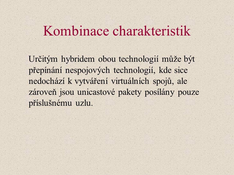Kombinace charakteristik Určitým hybridem obou technologií může být přepínání nespojových technologií, kde sice nedochází k vytváření virtuálních spojů, ale zároveň jsou unicastové pakety posílány pouze příslušnému uzlu.