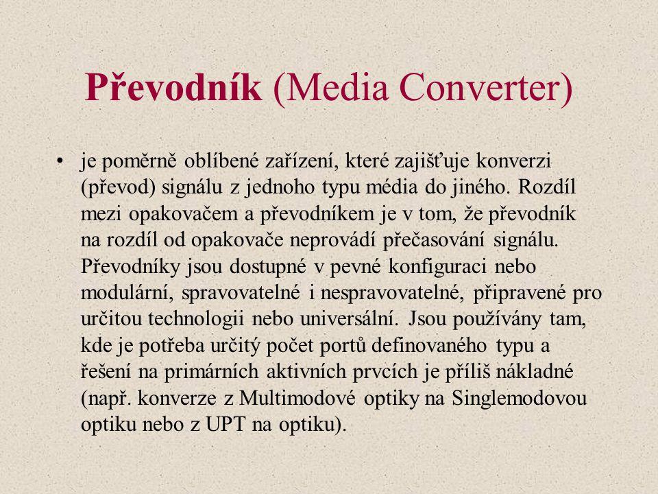 Převodník (Media Converter) je poměrně oblíbené zařízení, které zajišťuje konverzi (převod) signálu z jednoho typu média do jiného.