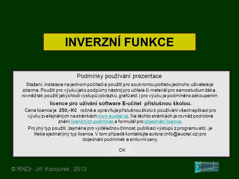 INVERZNÍ FUNKCE © RNDr. Jiří Kocourek 2013 Podmínky používání prezentace Stažení, instalace na jednom počítači a použití pro soukromou potřebu jednoho
