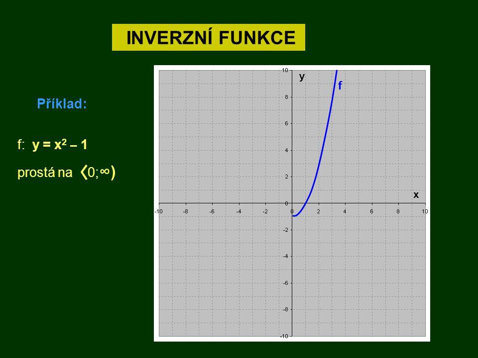 INVERZNÍ FUNKCE Příklad: f y x f: y = x 2 – 1 prostá na 0; ∞)
