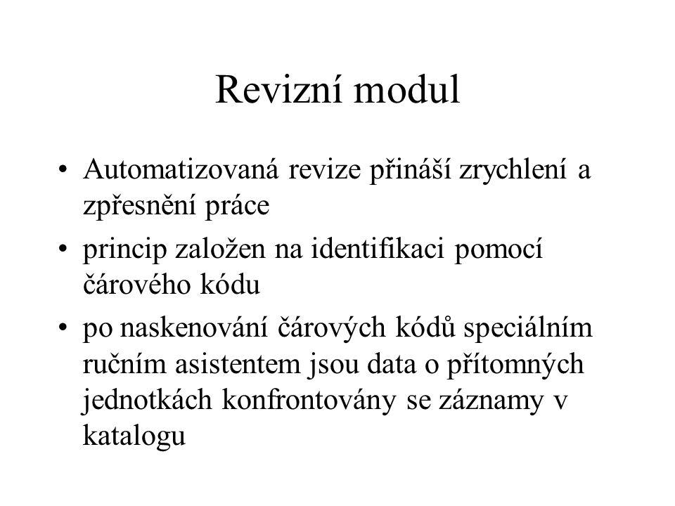 Revizní modul Automatizovaná revize přináší zrychlení a zpřesnění práce princip založen na identifikaci pomocí čárového kódu po naskenování čárových k