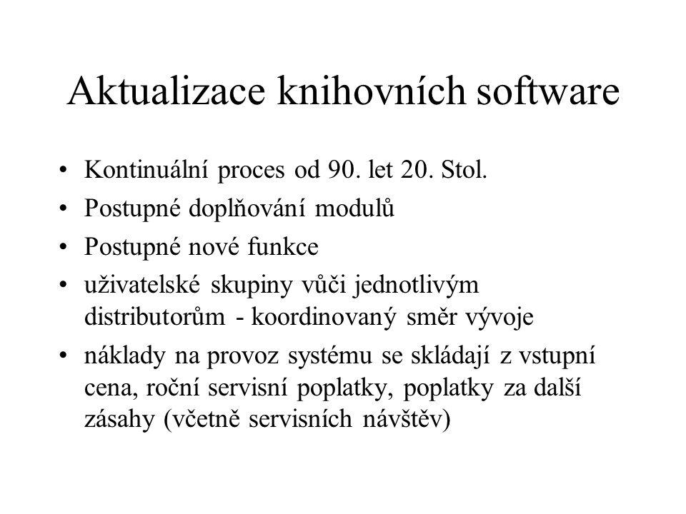 Aktualizace knihovních software Kontinuální proces od 90. let 20. Stol. Postupné doplňování modulů Postupné nové funkce uživatelské skupiny vůči jedno